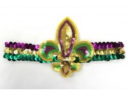 Mardi Gras Sequin Lg Fleur De Lis Headband