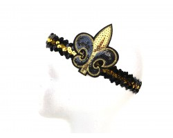Black Gold Sequin Fleur De Lis Headband