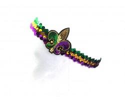 Mardi Gras Sequin Fleur De Lis Headband