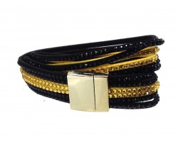 Black Gold Crystal Leather Wrap Magnetic Bracelet