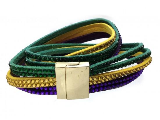 Mardi Gras Crystal Leather Wrap Magnetic Bracelet