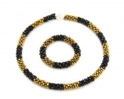 Black Gold Crystal Mag Necklace Bracelet Set