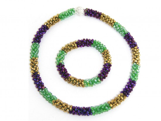 Mardi Gras Crystal Mag Necklace Bracelet Set