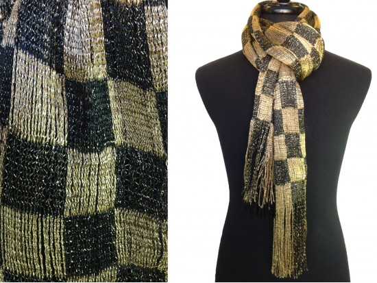 Black Gold Checker Oblong Scarf