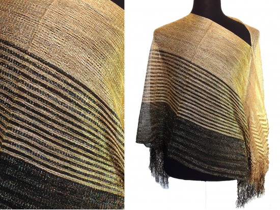 Black Gold Wide Stripe Shimmer Poncho