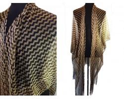 Black Gold Chevron Shimmer Fringe Kimono