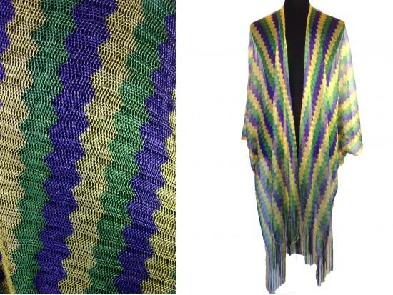 Mardi Gras Chevron Shimmer Fringe Kimono