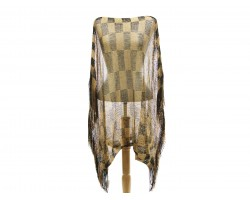 Black Gold Checker Poncho