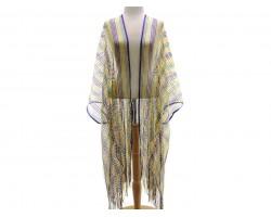 Mardi Gras Stripe Long Fringe Kimono