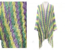 Mardi Gras Wavy Stripe Fringe Kimono