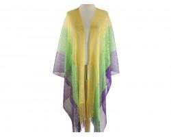 Mardi Gras Wide Stripe Shimmer Fringe Kimono