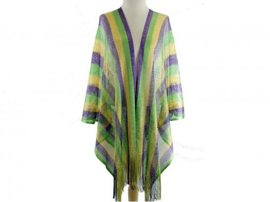Mardi Gras Stripe Fringe Kimono