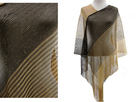Black Gold Stripe Fringe Poncho