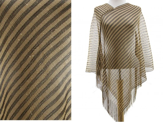 Black Gold Tiny Stripe Fringe Poncho