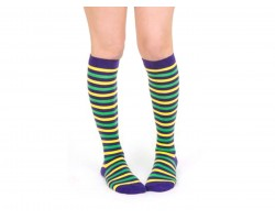 Mardi Gras Stripe Knee High Cotton Socks