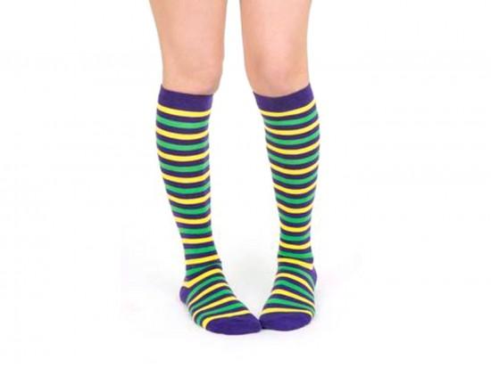 Mardi Gras Stripe Knee High Cotton Socks