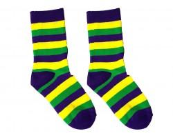 Mardi Gras Stripe Crew Cotton Socks