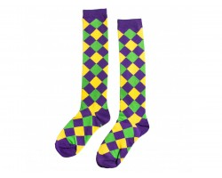 Mardi Gras Diamond Knee High Cotton Socks