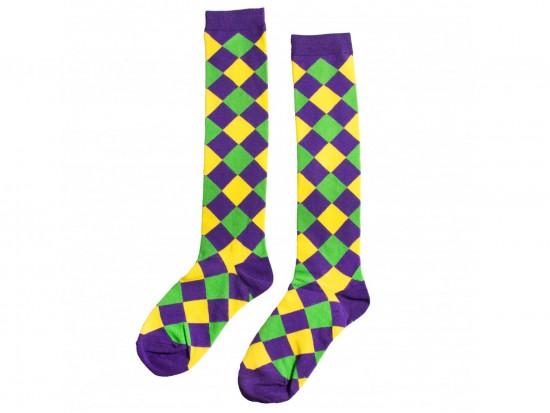 Mardi Gras Diamond Knee High Cotton Socks