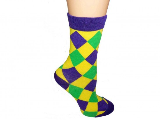 Mardi Gras Diamond Crew Cotton Socks