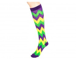 Mardi Gras Chevron Knee High Cotton Socks