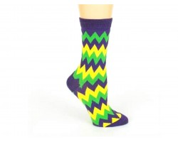 Mardi Gras Chevron Crew Cotton Socks