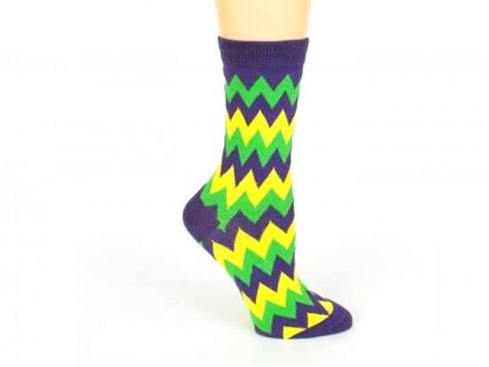 Mardi Gras Chevron Crew Cotton Socks