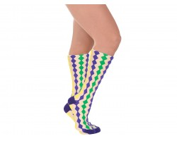 Mardi Gras Diamond White Knee High Cotton Socks