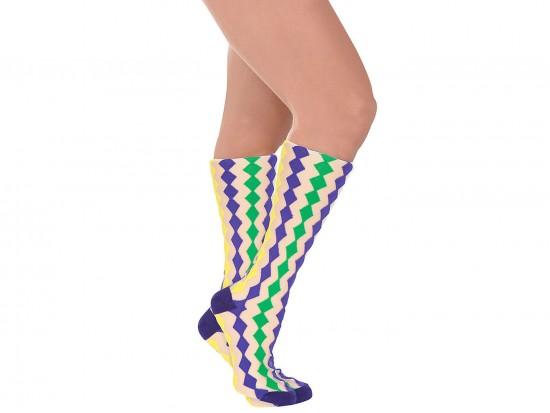 Mardi Gras Diamond White Knee High Cotton Socks