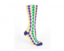 Mardi Gras Diamond White Crew Cotton Socks
