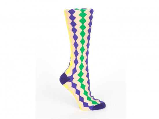 Mardi Gras Diamond White Crew Cotton Socks