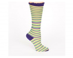 Mardi Gras Sheer Stripe Knee High Cotton Socks