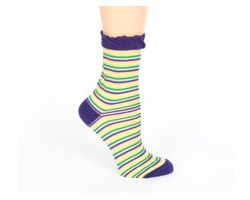 Mardi Gras Sheer Stripe Crew Cotton Socks