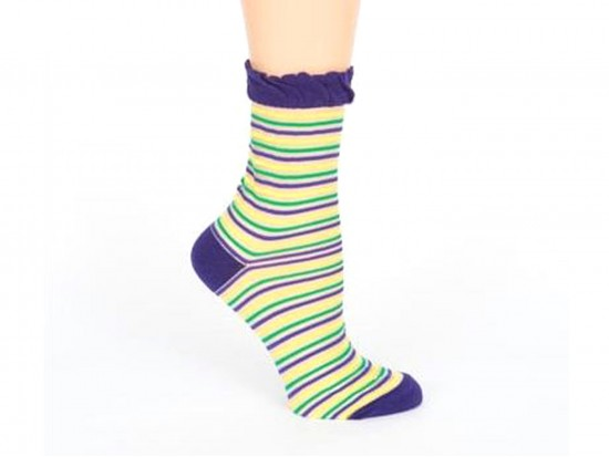 Mardi Gras Thin Stripe Short Socks