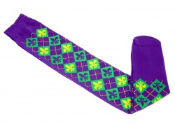 Mardi Gras Diamond Fleur De Lis Long Purple Socks