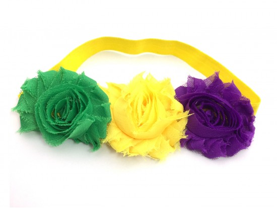 Mardi Gras Flower Stretch Headband