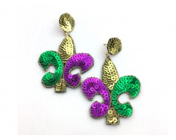 Mardi Gras Sequin Fleur De Lis Dangle Post Earrings
