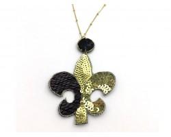 Black Gold Sequin Fleur De Lis Necklace