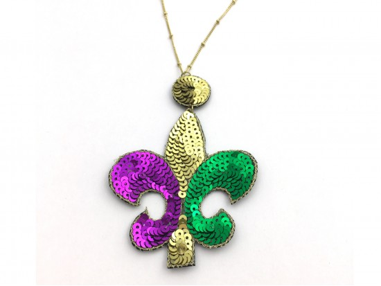 Mardi Gras Sequin Fleur De Lis Necklace