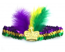 Mardi Gras Feather Crown Sequin Headband