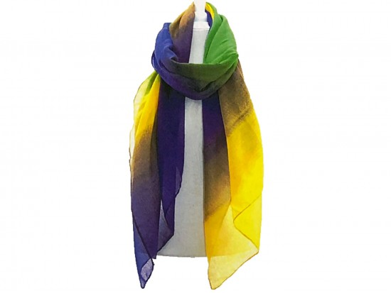 Mardi Gras Colored Lightweight Oblong Scarf