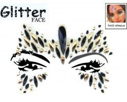 Black Gold Crystal Stick on Face Jewels