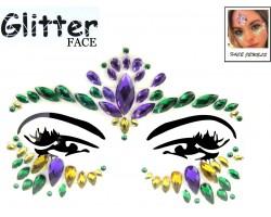 Mardi Gras Crystal Stick on Face Jewels