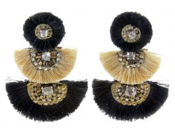 Black Gold 3 Tier Crescent Tassel Post Earrings