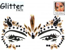 Black Gold Crystal Stick on Face Jewels and Glitter Packs