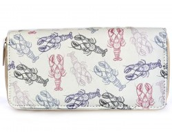 Red and Blue Crawfish Zipper Wallet