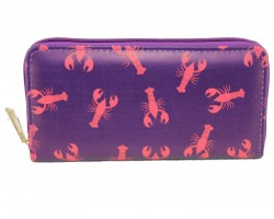 Purple Red Crawfish Zipper Wallet