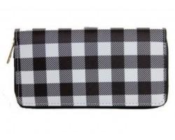 Black White Plaid Zipper Wallet