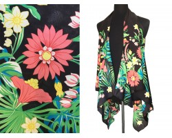 Black Tropical Sleeveless Cardigan Top