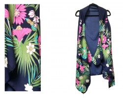 Navy Blue Tropical Sleeveless Cardigan Top